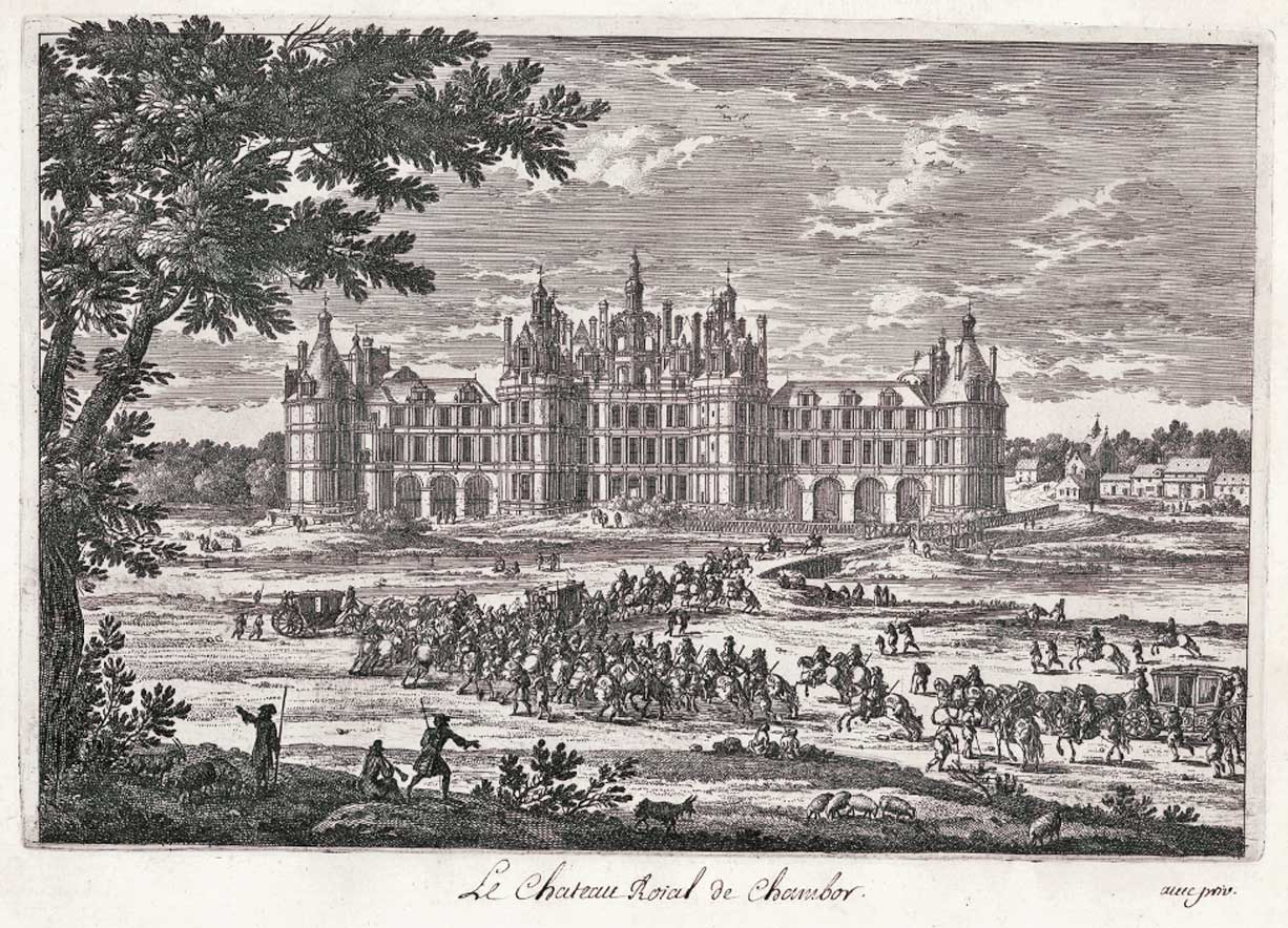 Chambord palace, copper engraving Pérelle 17th century